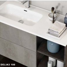 Flat washbasin on the right L 101 x H 18 cm Savini