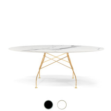 Kartell Table Glossy Golden 192x72cm marble effect stoneware top