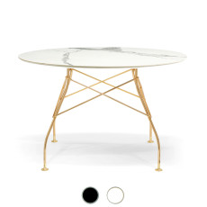 Kartell Table Glossy Golden 118x72cm marble effect stoneware top