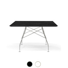 Kartell Table Glossy Chromed 118x72cm marble effect stoneware top