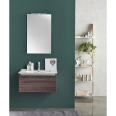 Suspended bathroom furniture composition L 70cm a drawer with sink, mirror and LED lamp Perth Dark tobacco TFT