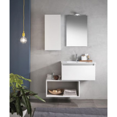 Suspended bathroom furniture composition L 70cm a drawer with sink, an open compartment, wall unit, mirror and LED lamp Perth White TFT