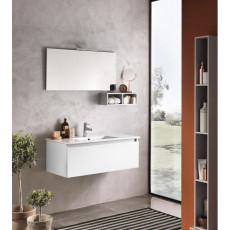 Suspended bathroom furniture composition L 100cm a drawer with sink, a wall unit, mirror and LED lamp Perth White TFT