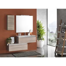 Suspended bathroom furniture composition L 100cm two drawers with washbasin, a wall unit, mirror and LED lamp Perth Light tobacco TFT