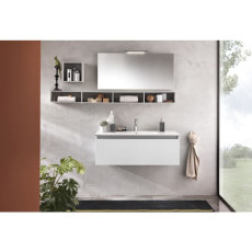 Suspended bathroom furniture composition L 100cm a drawer with sink, two wall units, mirror and LED lamp Perth White TFT