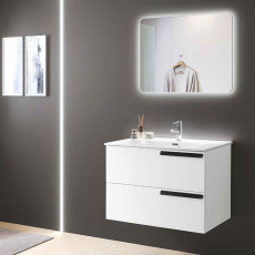 Modo Bathroom Composition Suspended Malibù with sink and LED mirror L 80X46 cm