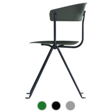 Magis Chair Officina in black varnished iron and polypropylene H 80 cm L 58 cm, also for outdoor use