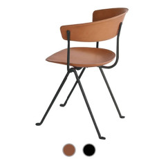Magis Chair Officina in black painted iron and leather H 80 cm L 58 cm