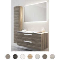Bathroom cabinet Angela L 100 cm suspended composition with sink on the right, mirror and lamp Savini