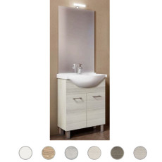 Bathroom cabinet Gaia L 65 cm floor composition with sink, mirror and lamp Savini