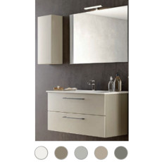 Bathroom cabinet Maya L 100 cm suspended composition with sink, mirror and lamp Savini
