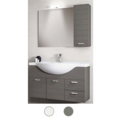 Bathroom cabinet Rigo L 85 cm suspended composition with sink, mirror and lamp Savini