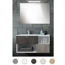 Bathroom cabinet Delia L 100 cm suspended composition with sink on the left, mirror and Savini lamp Savini