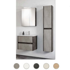 Bathroom cabinet Grace L 100 cm suspended composition with sink, mirror and lamp Savini