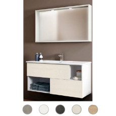 Bathroom cabinet Delia L 100 cm suspended composition with sink, mirror and lamp Savini