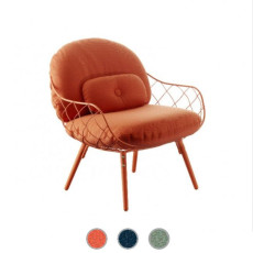 Magis Low armchair with armrests Piña Covered with fabric H 80 cm
