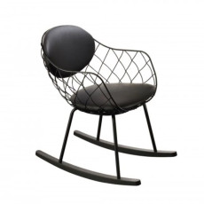 Magis Rocking chair with armrests Piña Leather covered H 78 cm