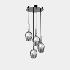 Italamp Suspension lamp in glass and metal Rose' LED 4 lights Ø 33 cm