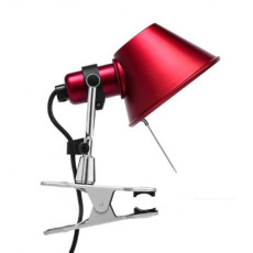 Artemide Tolomeo Micro Pinza Clamp Lamp 1 Light 46W H 20 cm Halo Red