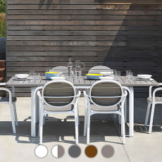 Nardi Garden composition ALLORO/PALMA with table and 6 armchairs. For inside and outside. Various colors