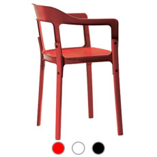 Magis Chair Steelwood Chair with armrests to be mounted H 76 cm L 55 cm, varnished beech wood structure