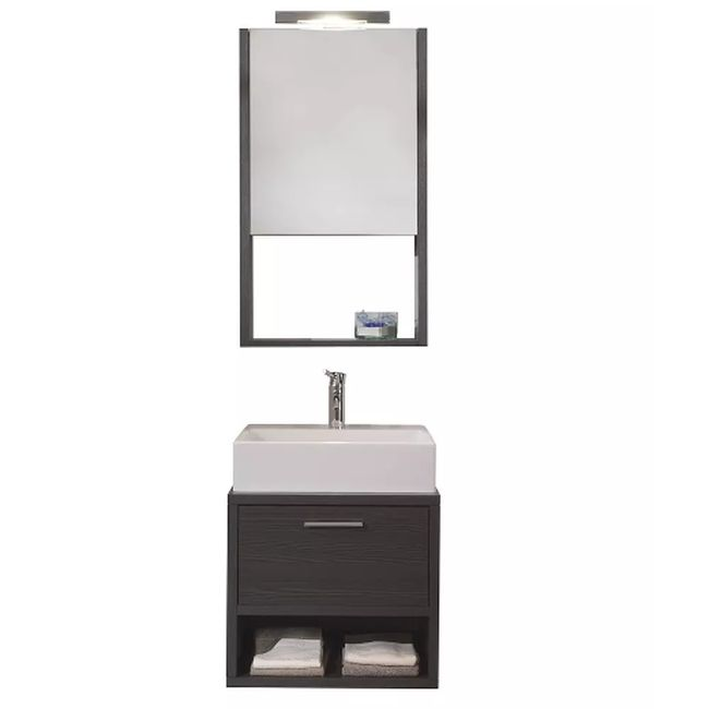 Suspended bathroom furniture composition L 52cm a flap with sink, mirror and LED lamp Broome Gray TFT