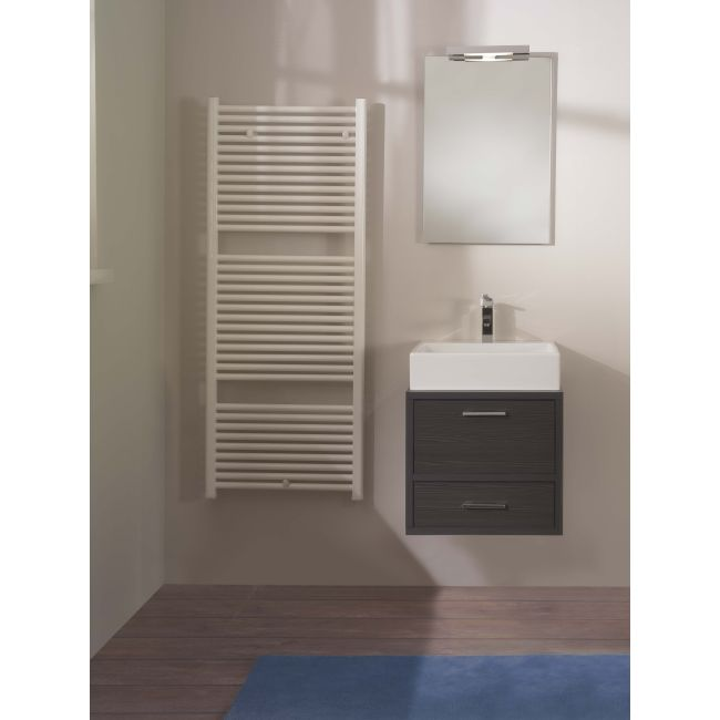 Suspended bathroom furniture composition L 52cm a drawer, a flap, a washbasin, a mirror and an LED lamp Broome Gray TFT
