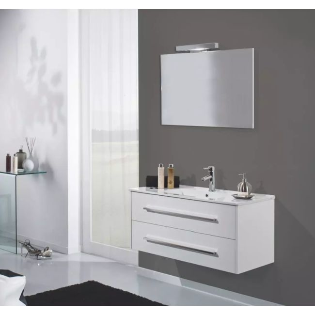 Suspended bathroom furniture composition L 100cm two drawers with sink, mirror and LED lamp Ribe White TFT