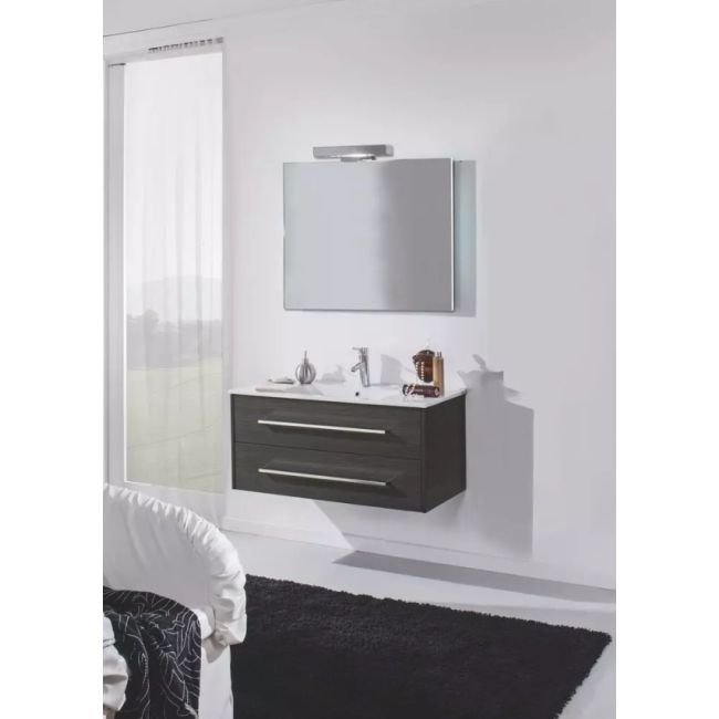 Suspended bathroom furniture composition L 100cm two drawers with sink, mirror and LED lamp Ribe Lava TFT