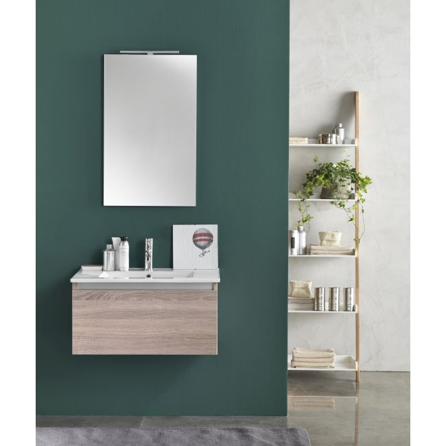 Suspended bathroom furniture composition L 70cm a drawer with sink, mirror and LED lamp Perth Light tobacco TFT