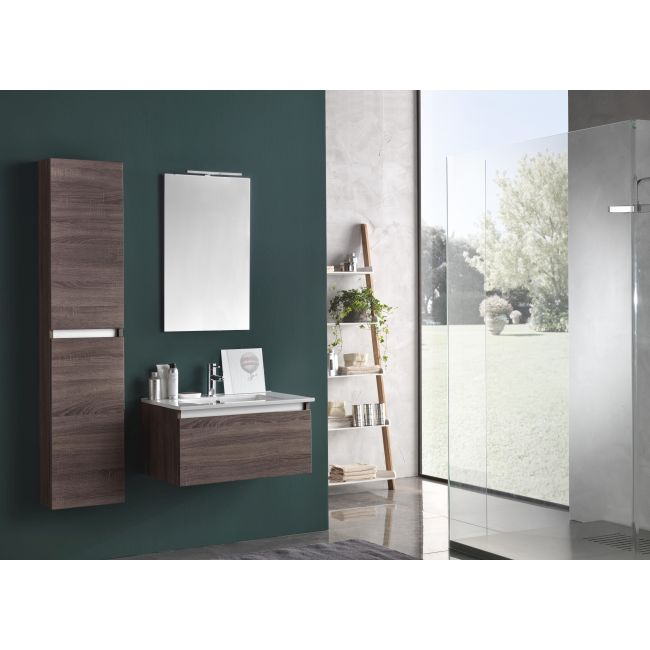 Suspended bathroom furniture composition L 70cm a drawer with sink, hanging column, mirror and LED lamp Perth Dark tobacco TFT