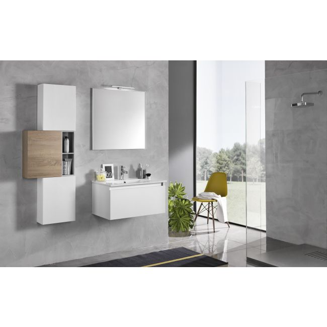 Suspended bathroom furniture composition L 70cm a drawer with sink, four wall units, mirror and LED lamp Perth White / Light tobacco TFT