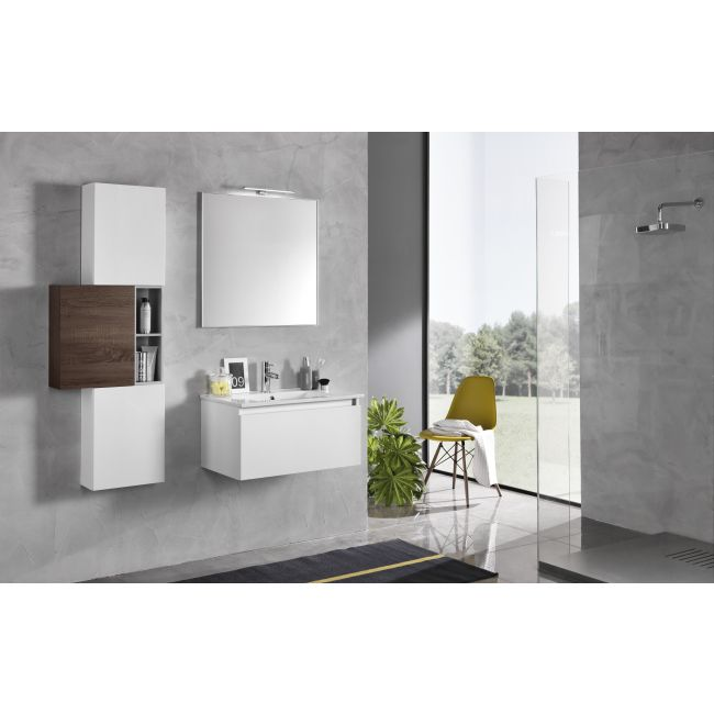Suspended bathroom furniture composition L 70cm a drawer with sink, four wall units, mirror and LED lamp Perth White / dark tobacco TFT