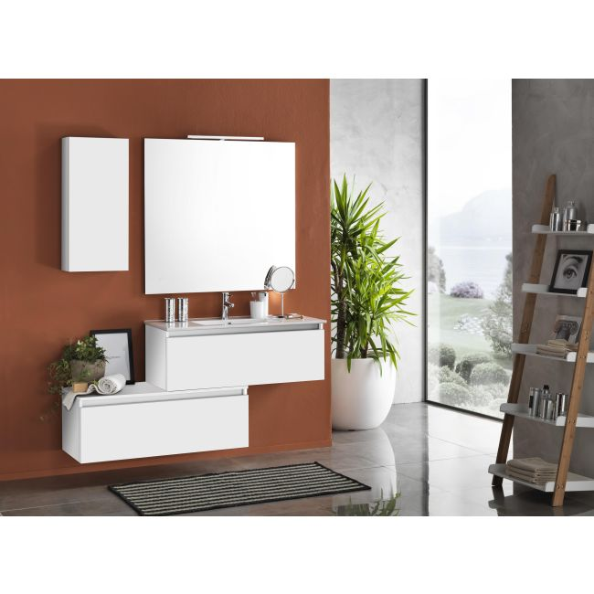 Suspended bathroom furniture composition L 100cm two drawers with washbasin, a wall unit, mirror and LED lamp Perth White TFT