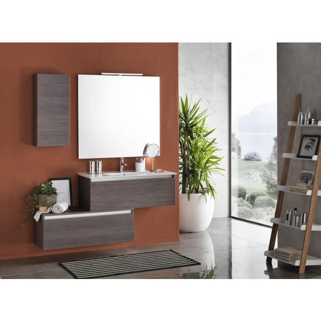 Suspended bathroom furniture composition L 100cm two drawers with washbasin, a wall unit, mirror and LED lamp Perth Dark tobacco TFT