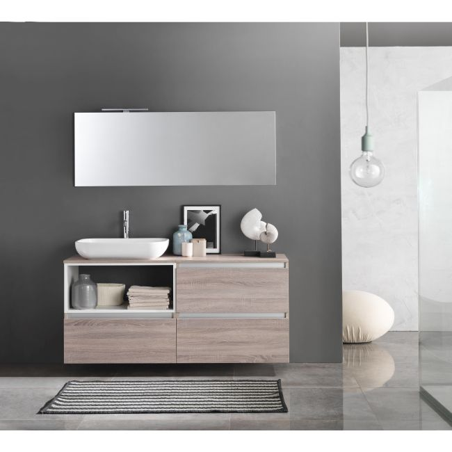 Suspended bathroom furniture composition L 70cm three drawers, an open compartment, sink, mirror and LED lamp Perth Light tobacco TFT