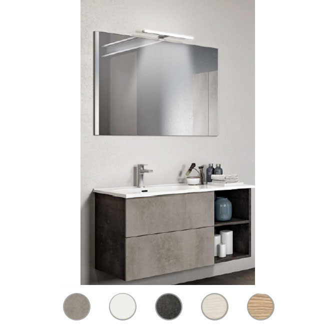 Bathroom cabinet Delia L 100 cm suspended composition with sink on the right, mirror and lamp Savini