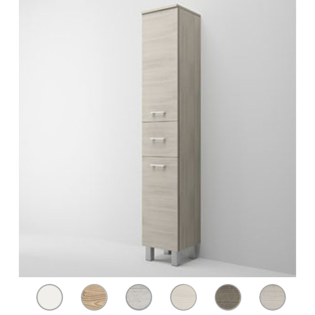 Single column left Gaia L 34 cm with two doors, drawer and shelves Savini