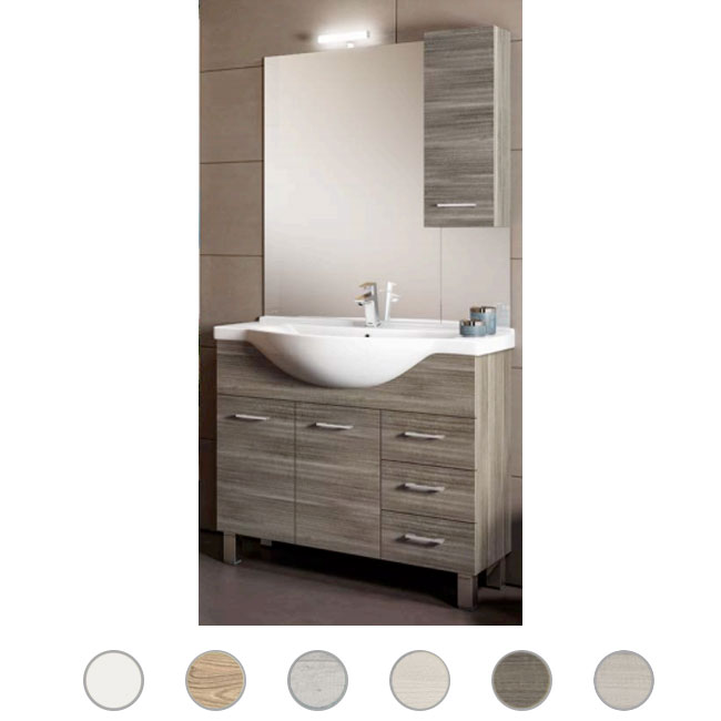 Bathroom cabinet Gaia L 105 cm floor composition with sink, mirror and lamp Savini