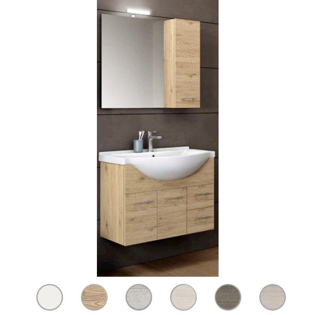 Bathroom cabinet Gaia L 85 cm suspended composition with sink, mirror and lamp Savini