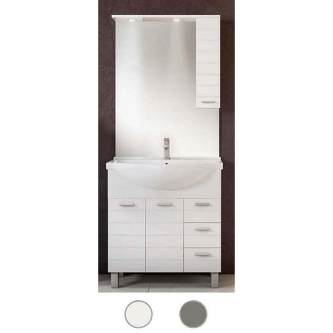Bathroom cabinet Rigo L 85 cm floor composition with sink, mirror and LED spotlights Savini