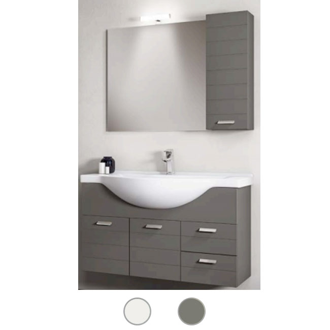 Bathroom cabinet Rigo L 105 cm suspended composition with sink, mirror and lamp Savini