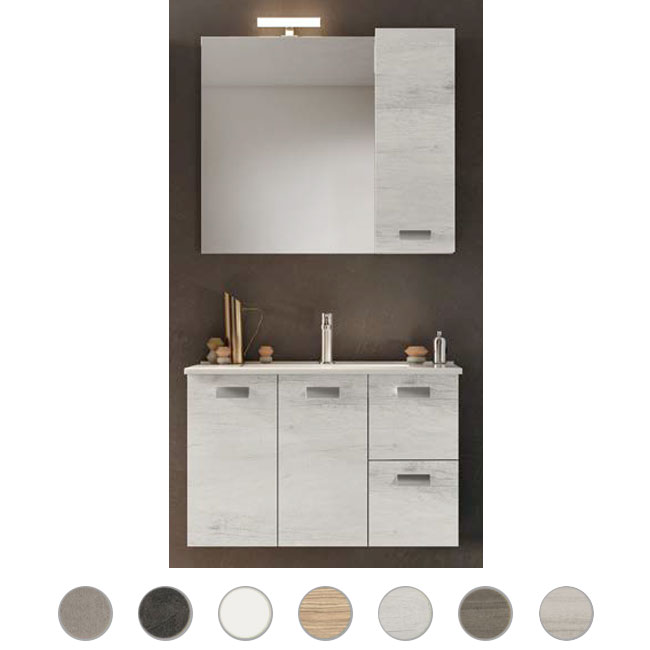 Bathroom cabinet Angela 100 cm suspended composition with sink, mirror and lamp Savini