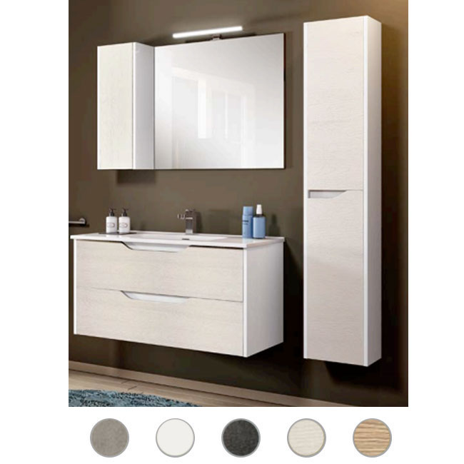 Bathroom cabinet Grace L 80 cm suspended composition with sink, mirror and lamp Savini