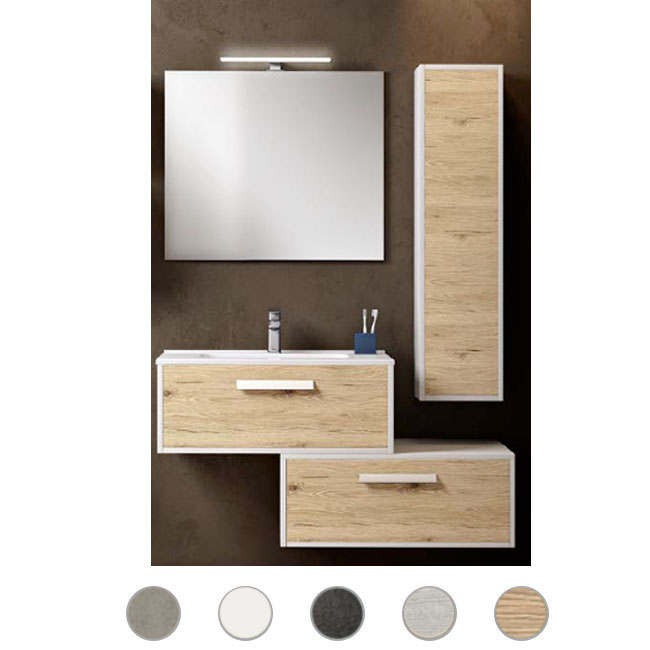 Bathroom cabinet Luna L 80 cm suspended composition with sink, mirror and lamp Savini