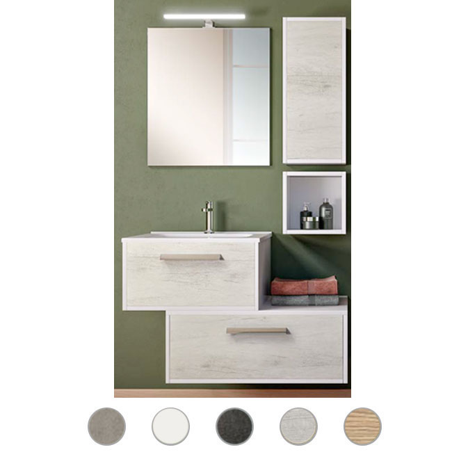 Bathroom cabinet Luna L 60 cm suspended composition with sink, mirror and lamp Savini