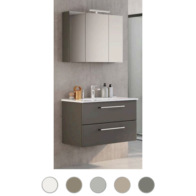 Bathroom cabinet Maya L 80 cm suspended composition with sink, mirror and lamp Savini