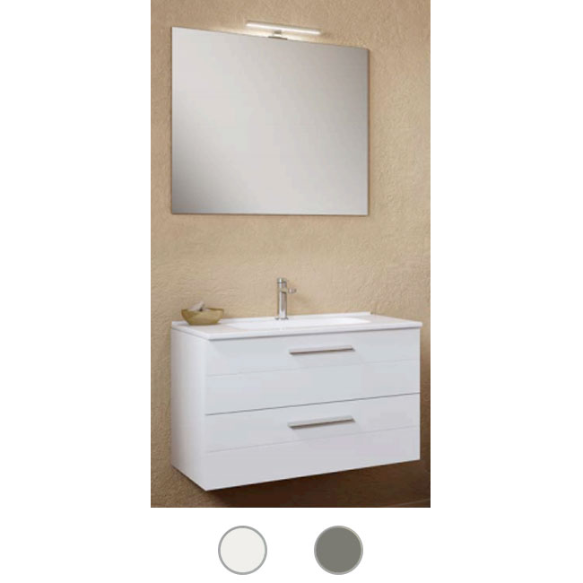 Bathroom cabinet Rigo L 100 cm suspended composition with sink, mirror and lamp Savini