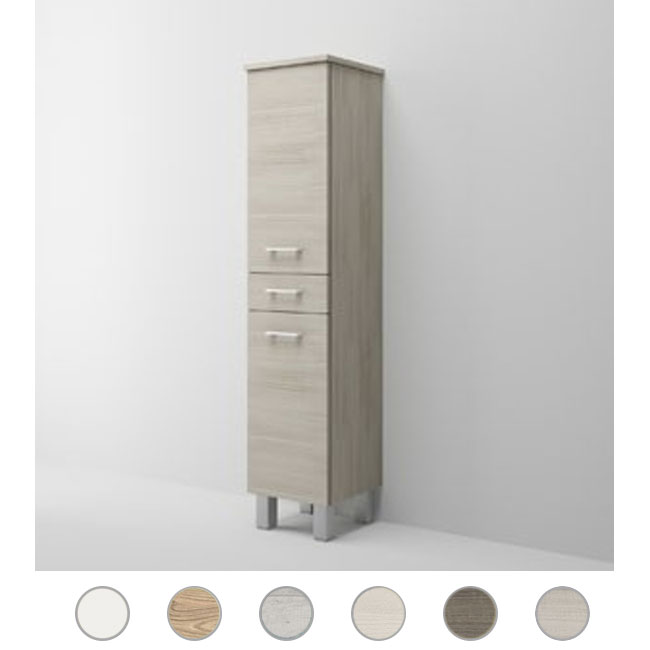 Single column left Gaia L 35 cm with two doors, drawer and shelves Savini