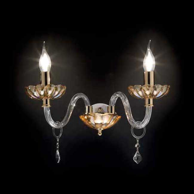 Wall lamp with crystal Patricia Ondaluce 2 lights E14 L 38 cm